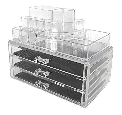Sodynee Acrylic Makeup Organizer Cosmetic Organizer Jewelry and Cosmetic Storage Display Boxes Two Pieces Set(3 Drawer Makeup Storage + Lipstick Liner Brush Holder)