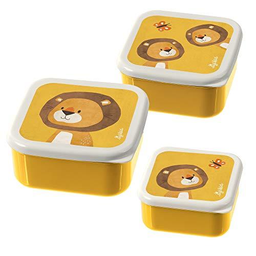 SIGIKID Jungen und Mädchen, Brotdosen mit buntem Druck, Snackboxen 3er-Set Löwe Forest für Kindergarten, Schule & Ausflüge, BPA-frei, empfohlen ab 24 Monaten, gelb, 25114