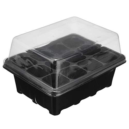SeniorMar Kit de boîte de Propagation de Prise de 12 cellules Dôme + Plateau + Inserts avec Trous Plateau de Propagation Plateau de clonage de semences de Plantes Insert Clone Grow Box