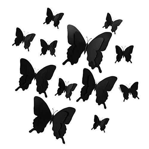 Benedict 12PCS Black Simulation Butterfly Wall Decor 3D Butterflies Wall Stickers for Halloween Home Decorations