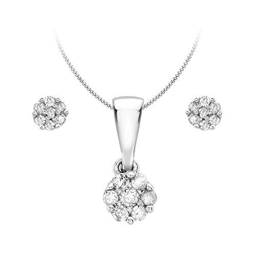 Carissima Gold Juego de joyas de mujer con oro blanco de 9 quilates (375/1000), diamante, 46 cm