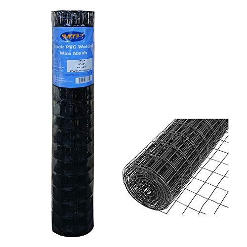 MTB Black PVC Coated Welded Wire Mesh Garden Economy Fence 48 Inch x 25 Foot-3 Inch x 2 Inch 16GA