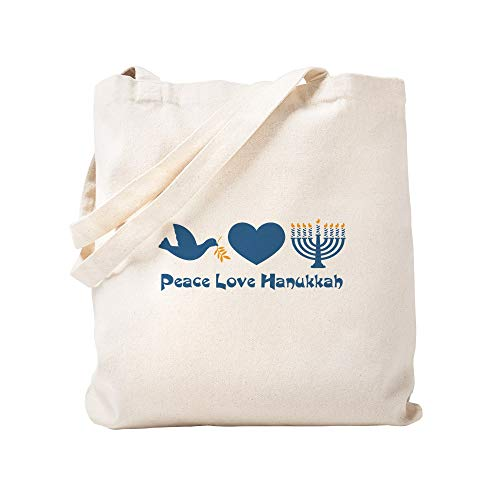 CafePress Peace Love Hanukkah Natural Canvas Tote Bag, Reusable Shopping Bag