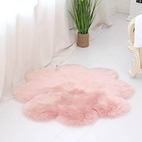 Rug Soft Artificial Sheepskin Carpet for Living Room Kids Bedroom Chair Cover Fluffy Hairy Anti-Slip Faux Fur Floor Mat (Color : Pink, Size : 90cm)