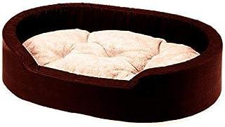 Mellifluous Reversible Oval Shape Soft Velvet Cat Dog Pet Bed (Length 66 x Width 53 x Height 13 cms) (Small, Brown-Cream)