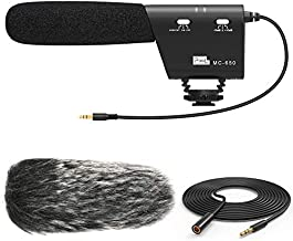 PIXEL MC650 Camera Microphone Kit, Directional Shotgun Video Mic for DSLR Camera Camcorder with Deadcat Windscreen, Foam Windshield, 9.8' Extension Cable