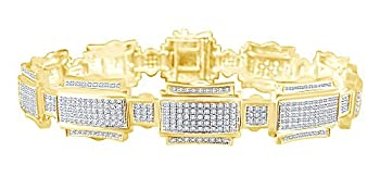 1.25 CT Round Cut White Natural Diamond Fashion Men s Bracelet In 14k Yellow Gold Over Sterling Silver 7.5