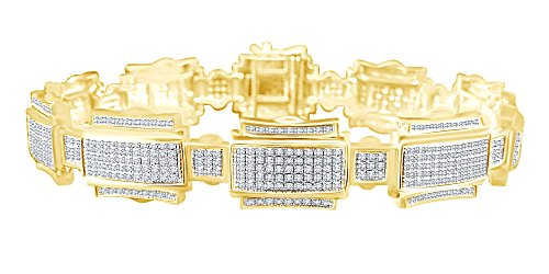 1.25 CT Round Cut White Natural Diamond Fashion Men's Bracelet In 14k Yellow Gold Over Sterling Silver 7.5'
