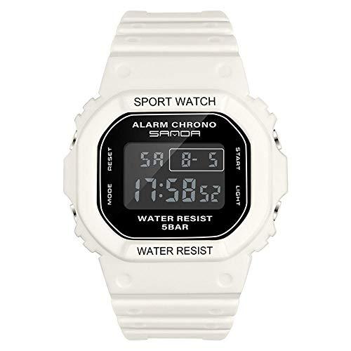 SANDA Reloj Hombre,Reloj Deportivo Impermeable electrónico Multifuncional Cuadrado Nuevo Reloj de Pareja de Tendencia de Moda para Estudiantes jóvenes-Blanco