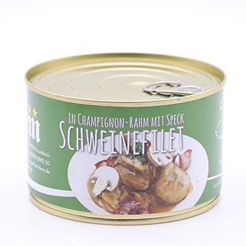 Filet vom Landschwein mit Schinken Speck und Champignon Rahm Soße 400g