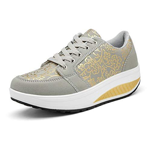 Luckhome Schuhe Herren Sneaker Turnschuhe Männer Warehouse Deals Turnschuhe Damen Damenmode lässig schnüren atmungsaktiv Sport Running Platform Sneakers Schuhe(Grau,EU:37)