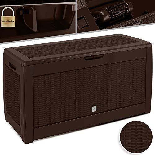 KESSER® Auflagenbox Kissenbox 310 Liter mit Rollen klappbarer Deckel Haltegriffe Rattanoptik Gartenbox, Braun