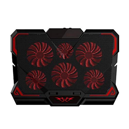anruo Gaming portátil radiador de seis ventilador portátil almohadilla de refrigeración silencio LED ajustable soporte para portátil RedSpeedControl
