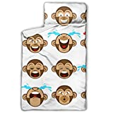 N\A Forest Jumping Cute Monkey Colchonetas para Siesta para niños Colchonetas para niñas con diseño de Manta y Almohadas enrollables Ideal para preescolares Guarderías para Dormir 50'x20