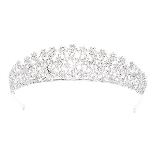 SEPBRIDALS Diadem mit kubischen Zirkonia-Blumen, Hochzeit, Brautschmuck, Diadem für Frauen, Haar-Accessoires, Schmuck S16438