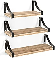 Pipishell Floating Shelves Wood Wall Mounted Shelf, Rustic Shelves Set of 3, 18kg Weight Capability, Solid Metal Wall...