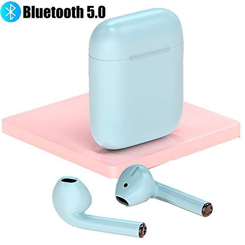Bluetooth 5.0 Inalámbrico Cascos con Estuche De Carga,Ipx5 Impermeable Cascos TWS Stereo Auriculares Construido-en Mic Cascos Sonido Premium para El Deporte,Corriendo Azul