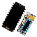 Duotipa Pantalla Super AMOLED compatible con Samsung Galaxy S7 Edge SM-G935F SM-G935FD SM-G935W8 de 5,5 pulgadas, digitalizador, con marco y herramientas, color dorado