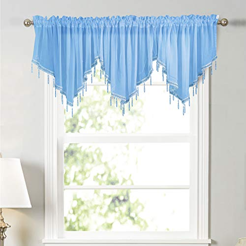 Molaxhome Swag Curtain 63 inch Length, Rod Pocket Scalloped Curtain Valance Sheer Lace Panels with Hanging Crystal Beads for Farmhouse Kitchen Bedroom Window Treatments Drape Decor 1pc(63inch, Blue)