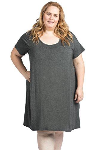 Savi Mom The Original Maternity Nursing/Breastfeeding Nightgown Dress Plus Size (1X, Charcoal Gray)