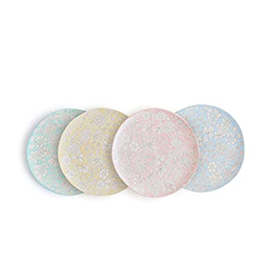 Dorotea 5215284 Hand Painted Salad Plate, 8-Inch, Set of 4, Assorted