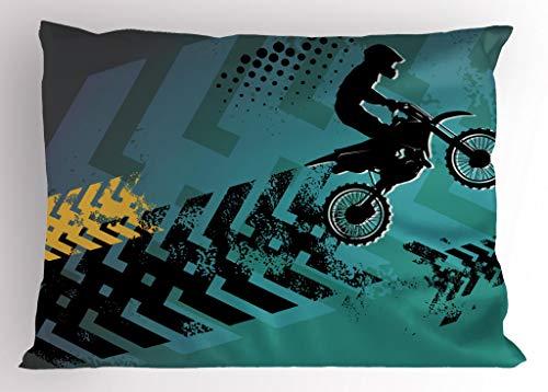 Lunarable Dirt Bike Pillow Sham, Extreme Sports Theme Stunt Racer...