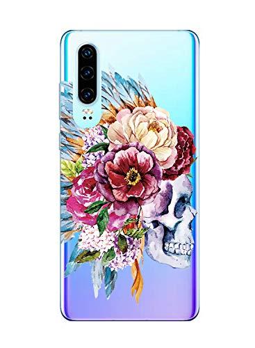 Suhctup Transparent Coque Compatible pour Huawei Honor V9,Etui en Silicone TPU Gel Souple Ultra Fin Fleur Dessin Clear Case Anti Choc Protection Housse pour Huawei Honor V9(Fleur 9)