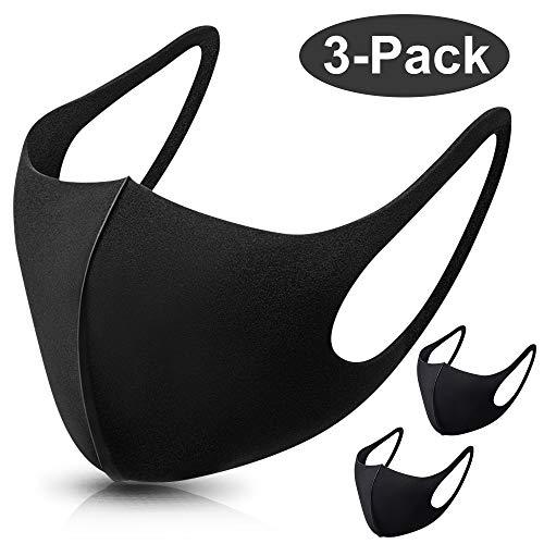 Vivibel 3 Stück Schwarz Baumwolle Masken Staubmaske Unisex Wiederverwendbar Mundschutz Maske