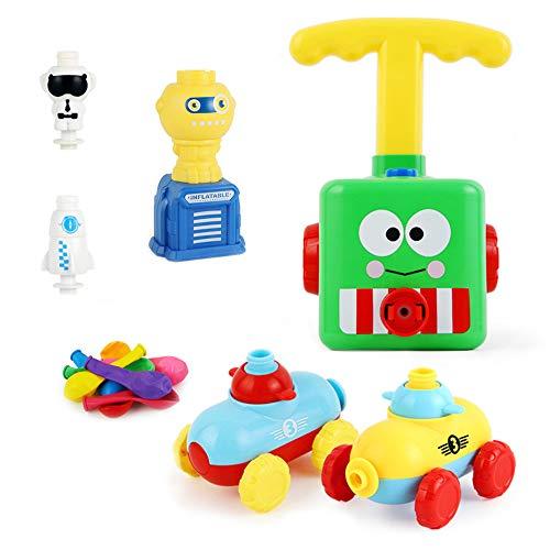 Balon zestaw wyrzutni samochodowej, zasilany balonem zabawka dla dzieci, zabawka do zabawy z pompką do balonów samochodowych zabawka, nadmuchiwana pompka balon pompka aerodynamika prezenty edukacyjne dla dzieci z 16 szt. balonów