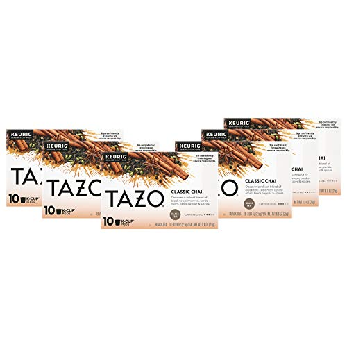 Tazo K-Cup Pods For a Calming Tea Chai Moderately Caffeinated Morning Drink 10 K-Cup Pods, Pack of 6