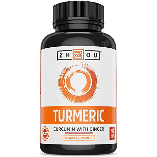 ZHOU Turmeric Curcumin and Ginger with Bioperine 1800 mg   Extra Strength Antioxidant for Maximum Joint Comfort and Mobility   Non-GMO   30 Servings, 90 Veggie Caps