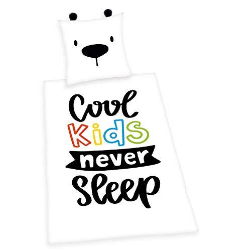Herding Bettwäsche-Set, Cool kids never sleep Wendemotiv, Bettbezug 140 x 200cm, Kopfkissenbezug 70 x 90cm, Baumwolle/Renforcé