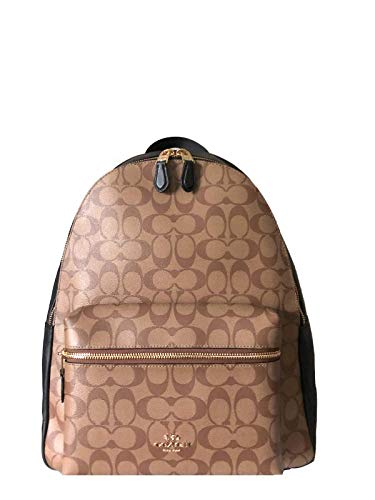 Coach Charlie Signature Pebble Leather Backpack (Khaki/Black), Large