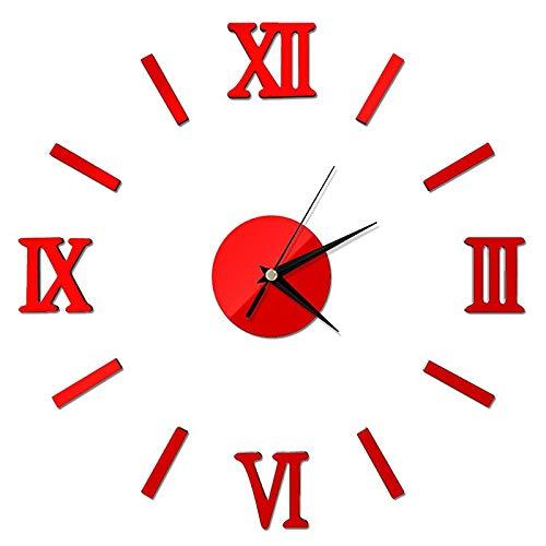 Wanduhr Modern DIY Large Wall Clock 3D Mirror Surface Sticker Home Decor Art Giant Wall Clock Watch with Numerals Big Clock 14inch Black