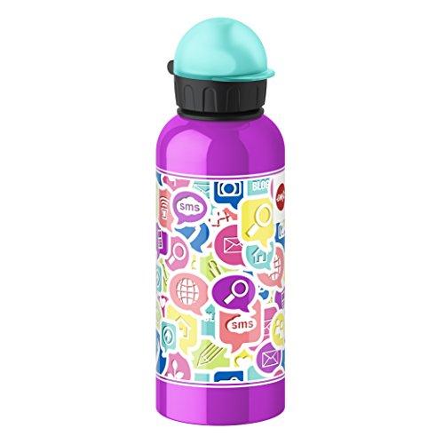 Emsa 514410 Kinder-Trinkflasche, 600 ml, Sicherheits-Verschluss, 100% dicht, Teens Chat