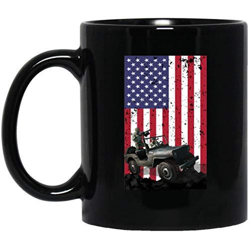 Tasse 4. Juli – Jeep Veteran Amerikanische Flagge – 325 ml Kaffeetasse – tolles Geschenk für Fre&, Mitarbeiter, Chef, Eltern, Fre& oder Fre&in