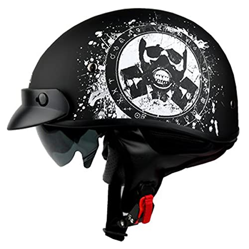 qwert Motorcycle Half Helmet, Retro Vintage Open Face Motorbike Helmet DOT Approved Skull Cap Moped Jet Half Helmet with Sun Visor for Men Women (54-62CM)
