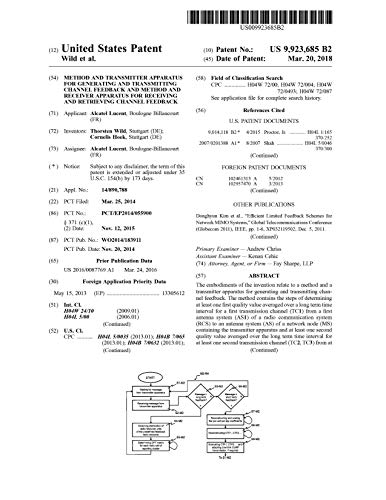 Method and transmitter apparatus for generating and transmitting channel feedback and method and receiver apparatus for receiving and retrieving channel ... States Patent 9923685 (English Edition)