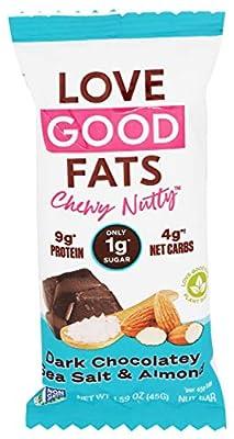 LOVE GOOD FATS Dark Chocolatey Sea Salt and Almond Bar, 1.59 OZ