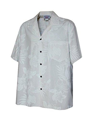 Pacific Legend Mens White Wedding Tropical Floral Hawaiian Shirt-WHITE3585-XL