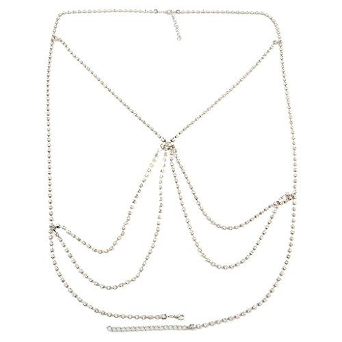 Colcolo Collar de Cadena de Cuerpo de Vientre de Cintura de Arnés Cruzado de Bikini de Diamantes de Imitación de Cristal - Plata