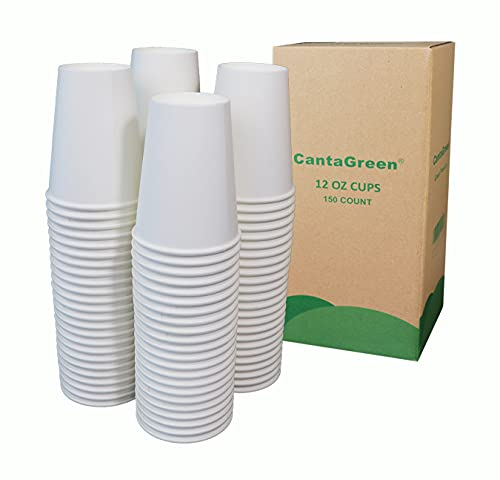 CantaGreen 12 OZ Heavyduty Paper Cups,150 Count White Disposable Cup...