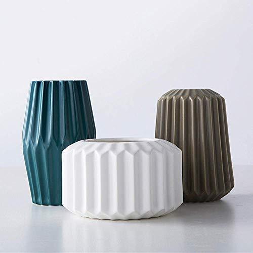 FACAIA Jarrón de cerámica Creativo nórdico Simple y Elegante Jarrones de geometría de Origami Arreglo Floral de Mesa Florero de Arte Accesorios de decoración de Boda en el hogar-3Pcs,