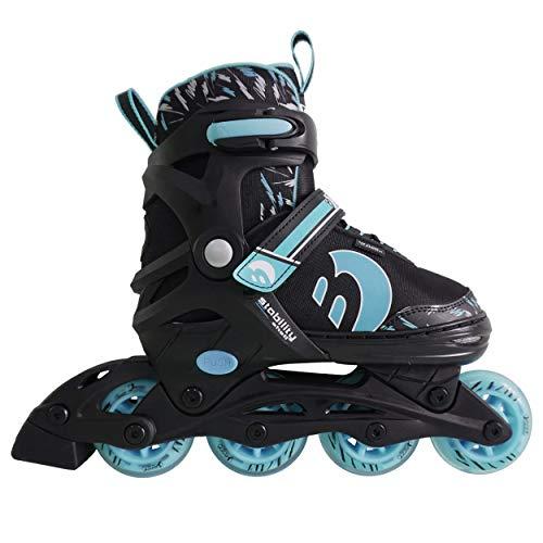 Best Sporting Inline Skates, Größe verstellbar, ABEC 7 Carbon, Inliner Kinder und Jugendliche, Farbe türkisblau-schwarz, Größe 38-41