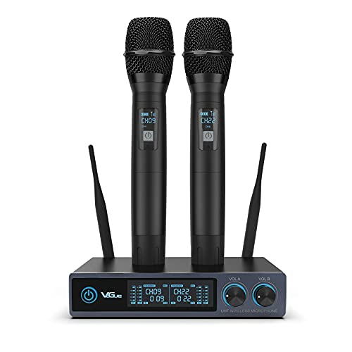 Funkmikrofon VeGue UHF Professionelles dynamisches drahtloses Dual Mikrofon, Handmikrofonsystem, Heim-KTV-Set für Familien-Karaoke-Kind-Party-Treffen, bestes Mikrofon für Live-Vocals