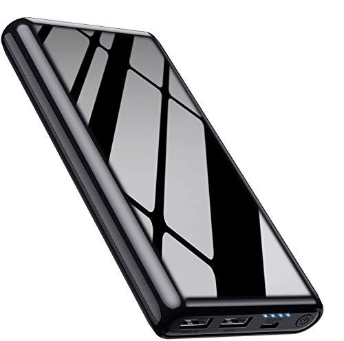 Feob Batería Externa Power Bank 26800mah Capacidad máxima [Carga simultánea para 2 Dispositivos] Batería Portátil Movil Banco de Energía para iPhone iPad Samsung Xiaomi etc. - Negro Brillante Fresco