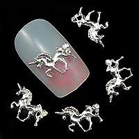 マニキュア爪アクセサリーのための10pcs 3D銀合金馬の装飾接着ラインストーンネイルアート