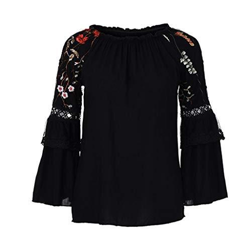 NPRADLA 2020 Mode Frauen Oansatz Bluse Blumenstickerei Spitze Flare Sleeve T Shirt Tops