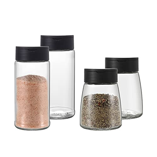 Salt and Pepper Shakers - Home and Kitchen Utensils - Perfect Salt and Pepper Dispenser Set for Your Seasoning - Set of 4 Bottles