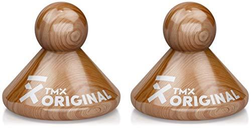TMX Trigger Original Set, Massagegeräte zur Triggerpunkt-Behandlung, punktuelle Akupressur, Muskelverhärtungen selbst lösen, Faszien triggern, aus Buchenholz, 2 x natur